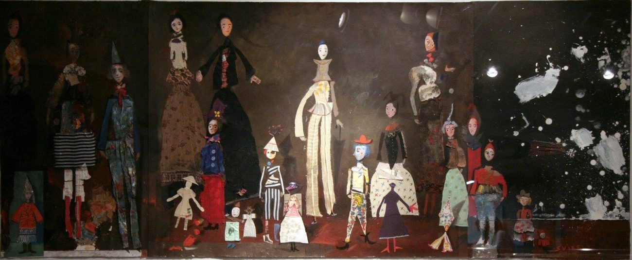 Theatre. Temo Svirely, georgian-ukrainian artist (born 1965 in Georgia- died 2014 in Ukraine), textile, acryl, pastel on paper (collage), 2007
