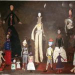 Theatre. Temo Svirely, georgian-ukrainian artist (born 1965 in Georgia- died 2014 in Ukraine), textile, acryl, pastel on paper (collage), 2007