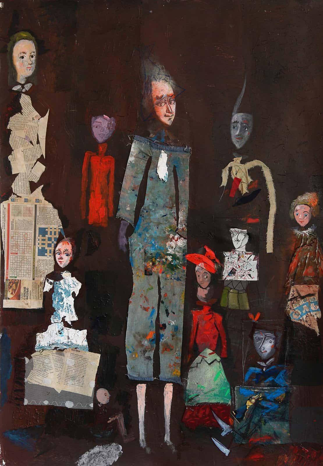 Актори. Темо Свірелі, грузинський та український художник (народився в 1965 році в Грузії - помер в 2014 році в Україні), текстиль, акріл, пастель на папері (колаж), 2007