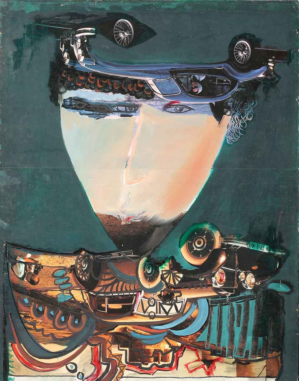 General. Temo Svirely, georgian-ukrainian artist (born 1965 in Georgia - died 2014 in Ukraine), gouache on paper, collage, 1993