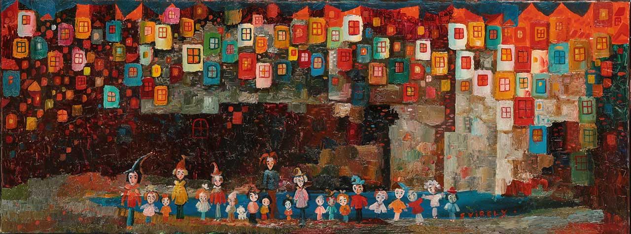 Мешканці маленького міста. Темо Свірелі, грузинський та український художник (народився в 1965 році в Грузії - помер в 2014 році в Україні), олія, полотно, 2013