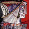 Воїн. Темо Свірелі, грузинський та український художник (народився в 1965 році в Грузії - помер в 2014 році в Україні), ручка, маркер, акріл, папір, 1995